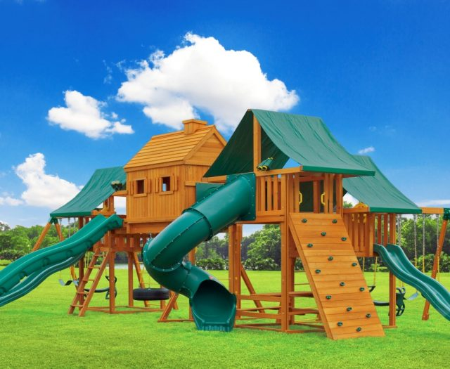 Imagination Large Outdoor Wood Play Set with Tire Swing