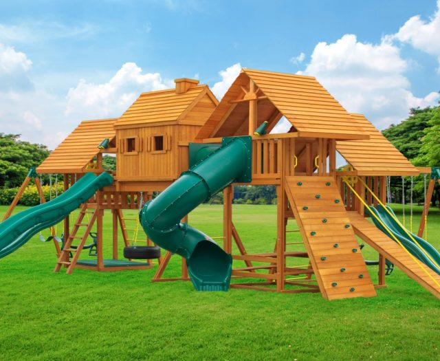 Imagination Outdoor Cedar Jungle Gym for Kids and Adults C