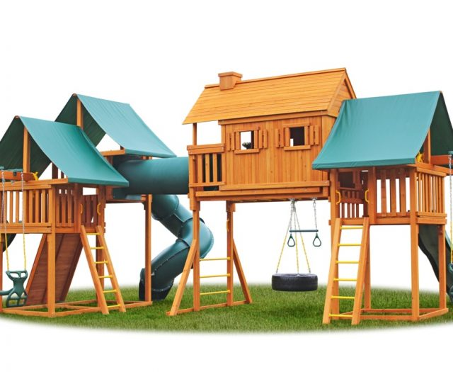 Imagination Playground with Clubhouse, Tire Swing and Horse GLider Fun Tube