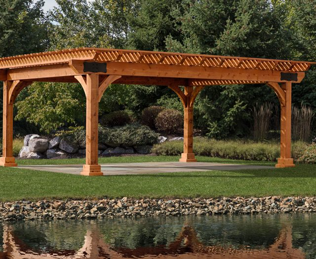 Kingston Wood Pergola Large Outdoor Pergola by a Pond