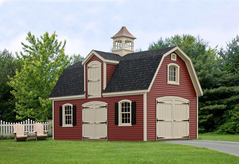 Liberty Dutch Barn Style 2 Story 1 Car Garage with Cupola
