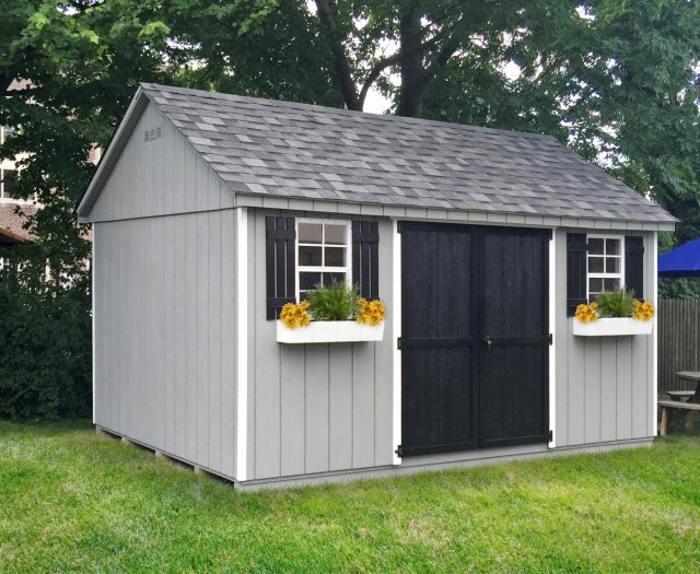 Outdoor Storage Building with Flower Boxes and Double Doors