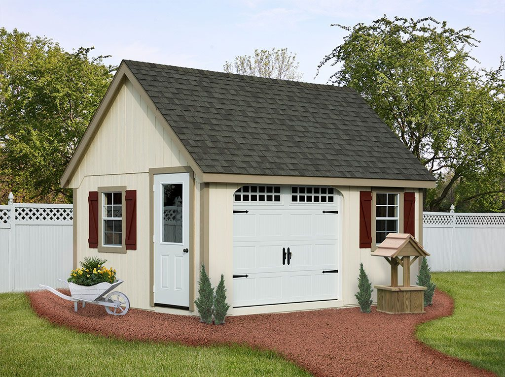 Prefab Garden Shed with Garage Door and Red Shutters Built on Site