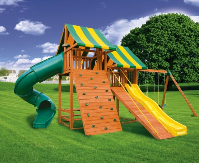 Sky Outdoor Cedar Jungle Gym with Gang Plank Ramp B