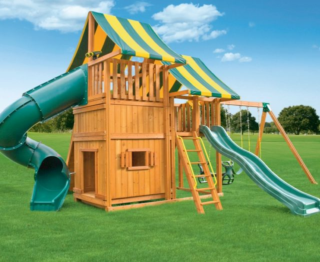 Sky Outdoor Cedar Play Set with Bottom Playhouse D