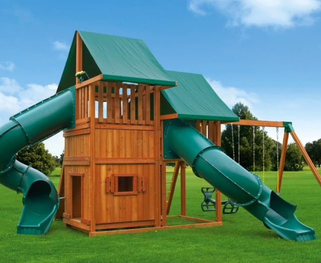 Sky Outdoor Cedar Playground with Bottom Clubhouse and Spiral Slides E
