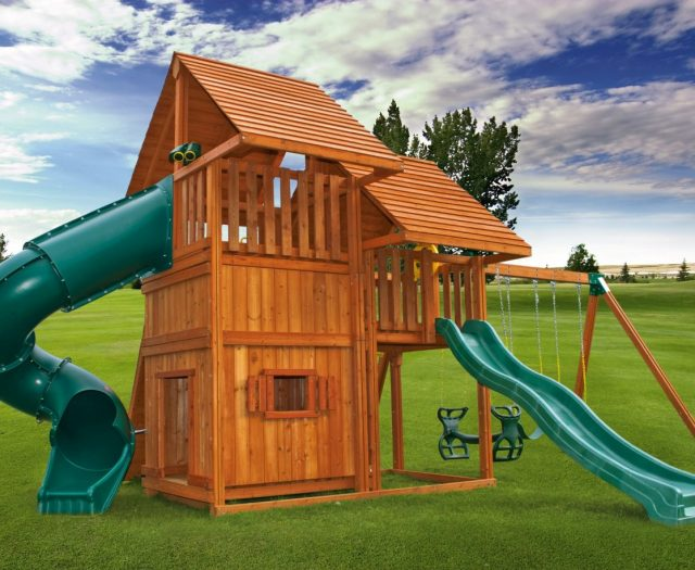Sky Outdoor Cedar Playset with Kids Playhouse G