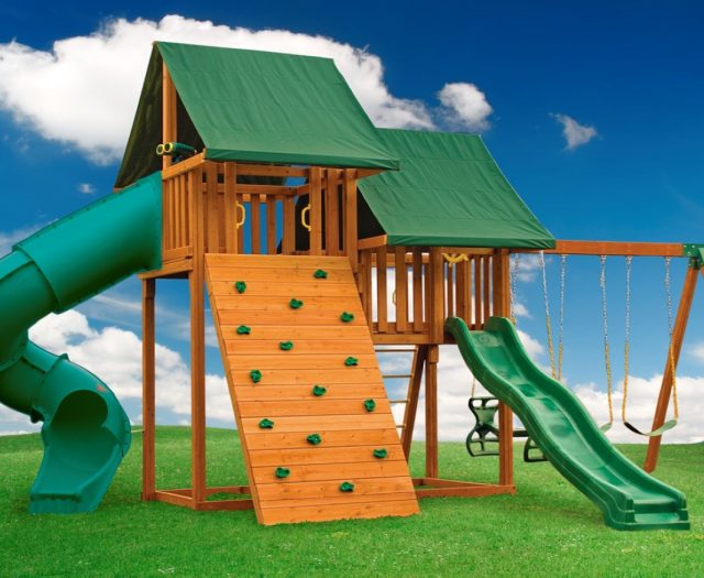 Sky Outdoor Cedar Playset with Rock Wall A
