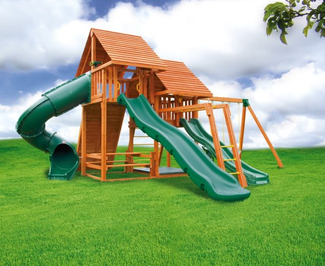 Sky Outdoor Cedar Swing Set with Monkey Bars and Wood Roof C