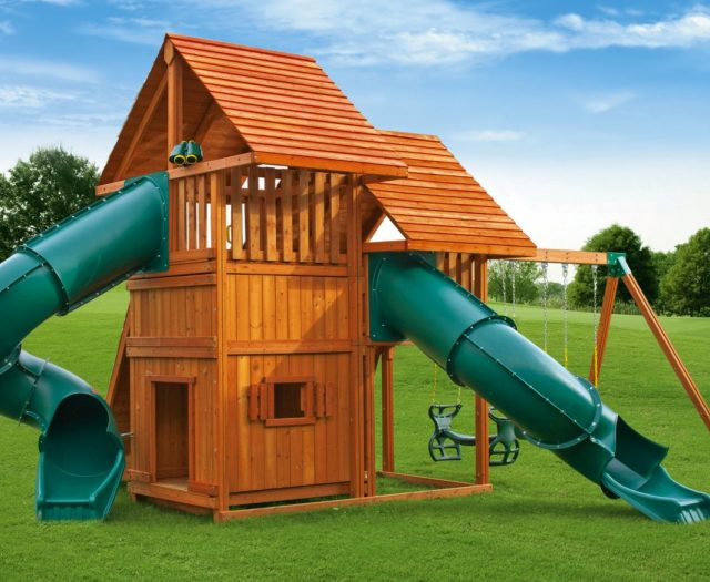 Sky Outdoor Cedar Swing Set with Wood Roof and Enclosed Playhouse F