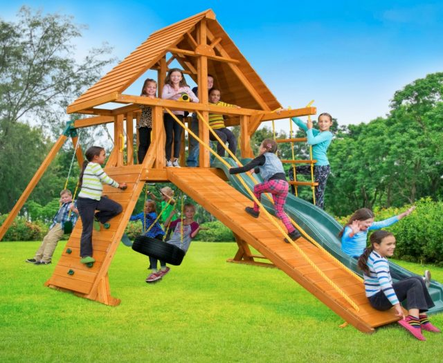 Supremescape Wooden Swing Set with Wood Roof & Gang Plank