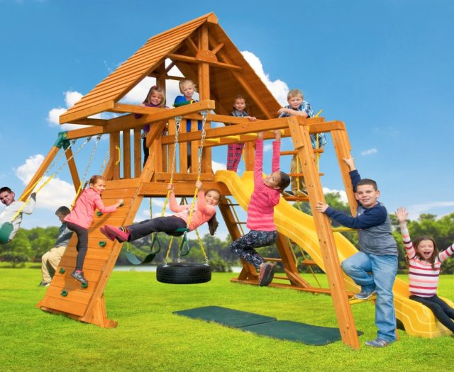 Supremescape Wooden Swing Set with Wood Roof, Accessory Arm & Monkey Bars
