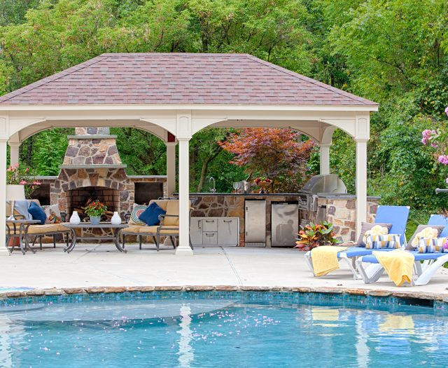 Traditional Ivory Vinyl Pavilion with Outdoor Fireplace