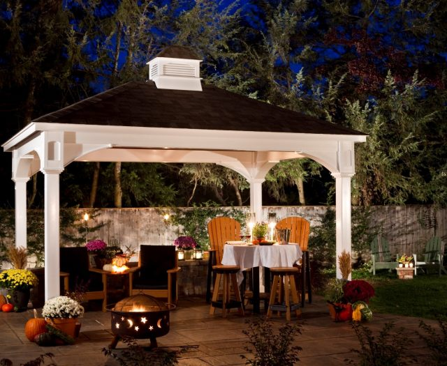 Traditional White Vinyl Pavilion with a Cupola Outdoor Living Night