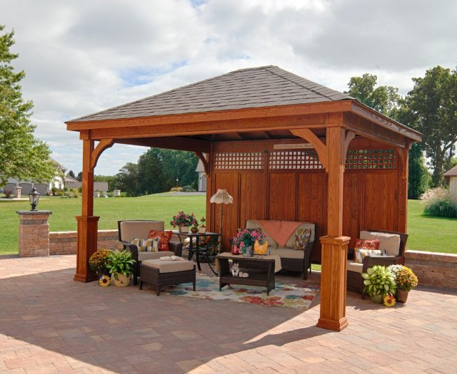 Traditional Wood Pavilion 12x14 on a Patio with Superior Posts and Wall