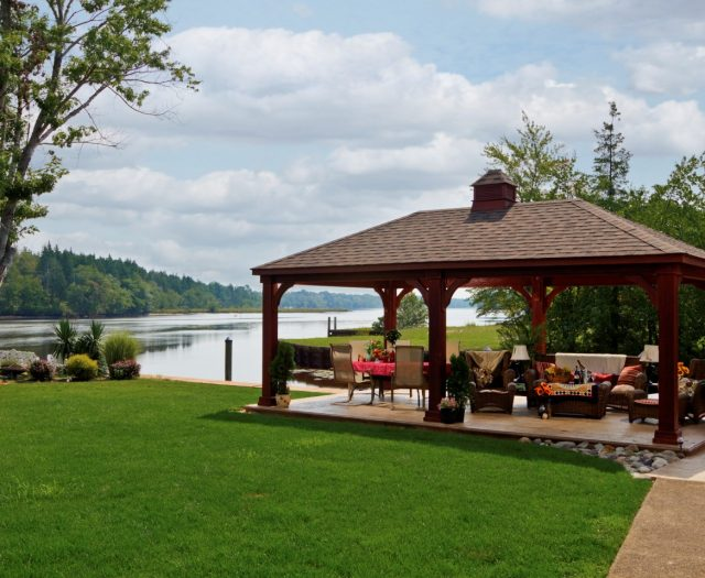 Traditional Wood Pavilion Large with Cupola by a Lake for Outdoor Living Area