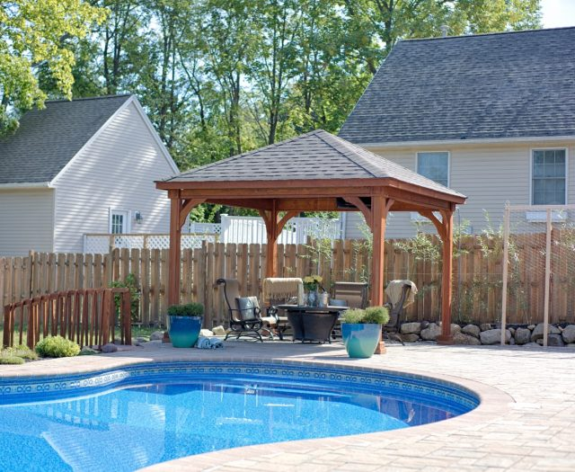 Traditional Wood Pavilion Poolside with Brown Stain