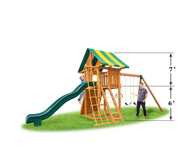 Ultimate Cedar Swing Set with Wood Roof, Gang Plank & Picnic Table