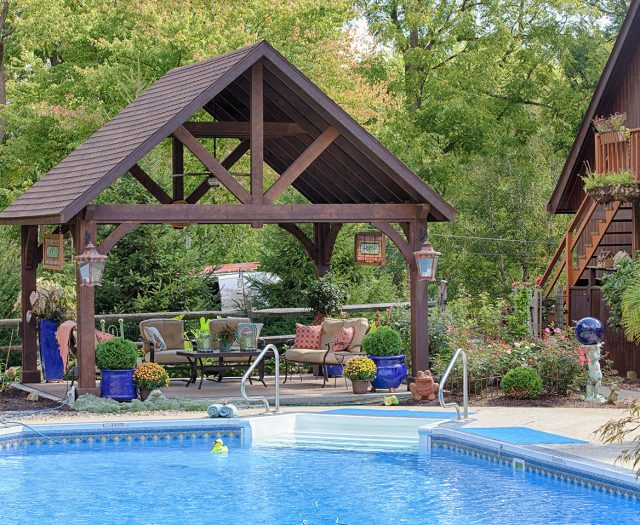 Wooden Cedar Pavilion Alpine Style Poolside with Sitting Area Outdoor Living