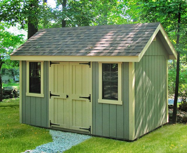 Wooden Storage Shed with Large Windows and Big Double Doors