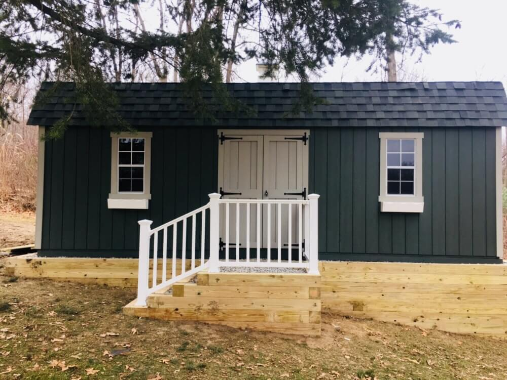 Backyard Shed Installed On Unlevel Property With Stairs