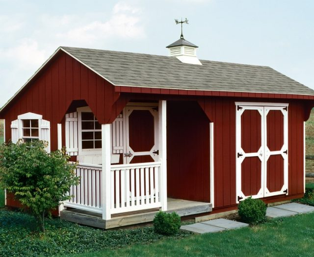 Backyard Wood Quaker Carriage Style Red with White Porch