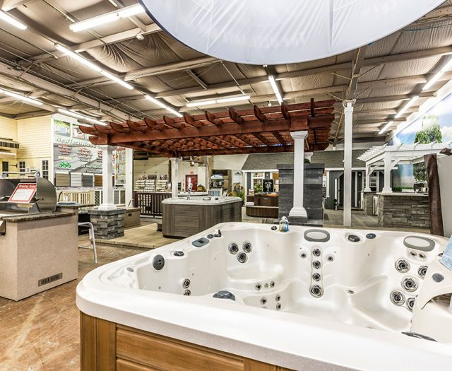 Best in Backyards Indoor Showroom with Marquis Hot Tubs