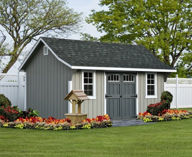 Decorative Storage Shed Elite Cape in a Backyard with Flowers