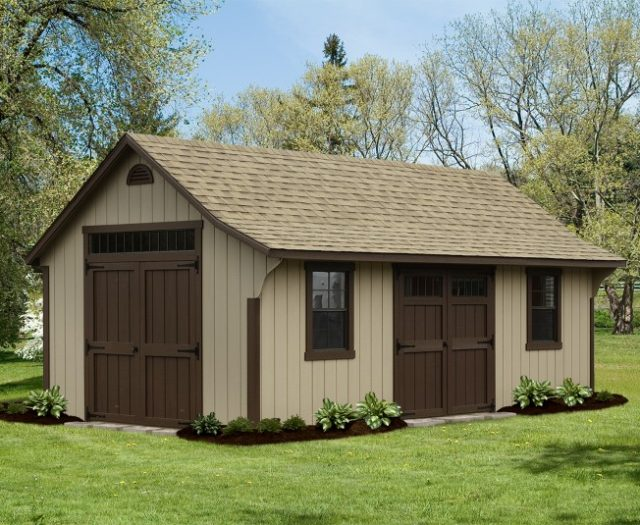 Elite Cape Wood Shed with Half Moon Vent and Extra Large Double Doors with Transom Windows