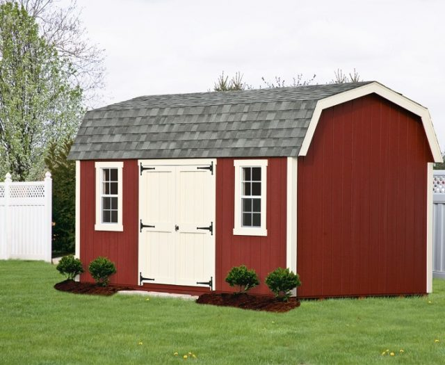 Elite Dutch Barn Backyard Garden Shed Red with White Trim and Double Doors
