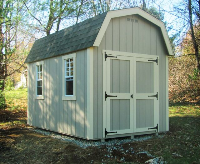 Elite Dutch Barn Wood Shed with Double Doors and Two Windows