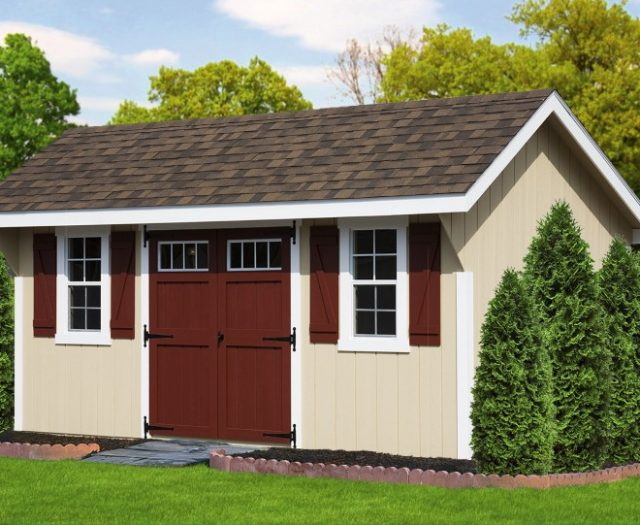 Elite Quaker Wood Backyard Storage Solution Cream with Red Doors and Shutters