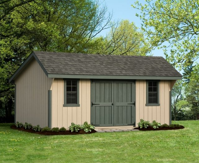 Elite Wood Quaker Backyard Shed with Large Double Doors