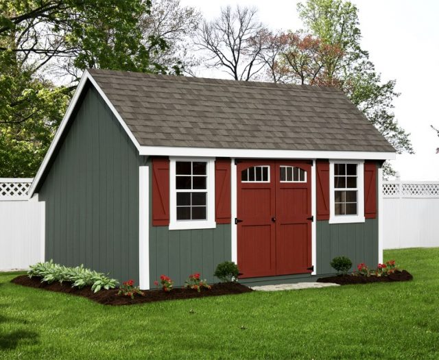 Garden Quaker Decorative Outdoor Store Shed with Red Double Doors and Transom Windows