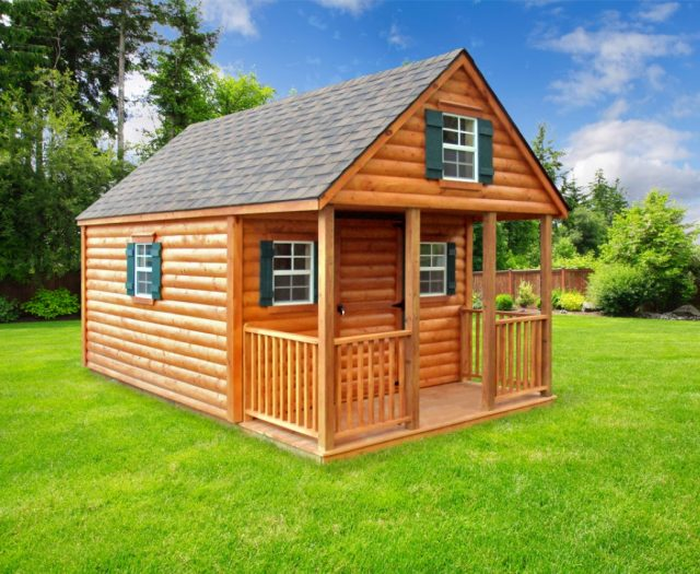 Log Sided Cabin Playhouse with Porch