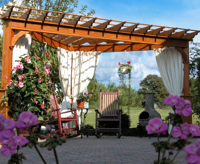 Traditional Wood Pergola Custom Design with 3 Posts and Curtains
