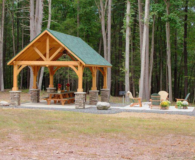 14'x24'-Alpine-Cedar-Wood-Pavilion,--Custom-Stain,-Custom-Green-Asphalt-Shingles-(3)