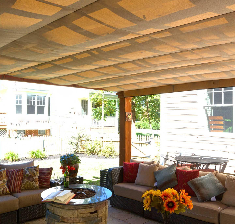 pergola with linen tweed EZ shade canopy