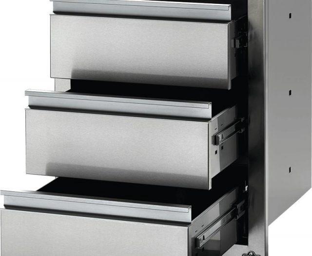 Flat Stainless Steel Built-in Triple Drawer Set