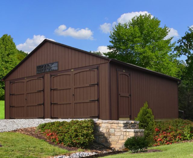 2 Car Garage 24 x 24 Brown with Vertical T-111 Siding