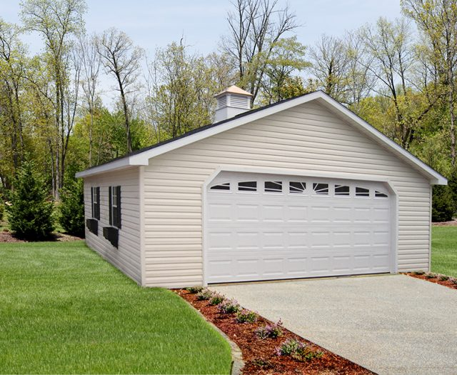 24 x 24 Two Car Garage with Large Carriage Door