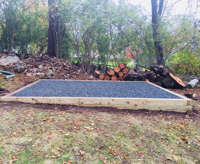 Gravel Pad Installation in Backyard for Storage Shed
