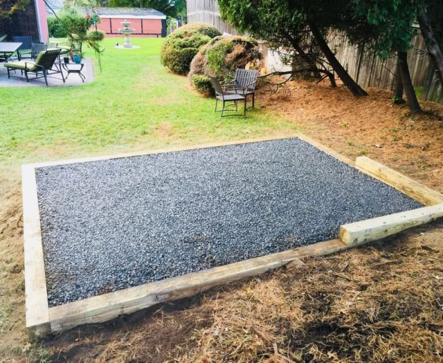 Back View of Completed Gravel Pad Installed on a Slope