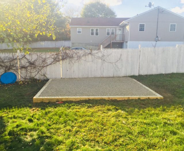 Front View of Complete Gravel Pad Installation for Shed
