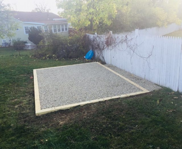 Alternate View of Complete Gravel Pad Install for Storage Shed