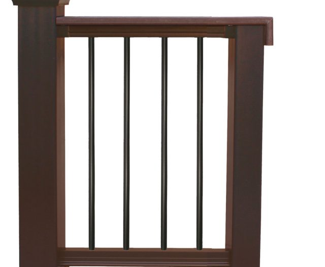 Walnut Composite Railings with Black Round Balusters and Optional Rail Cap