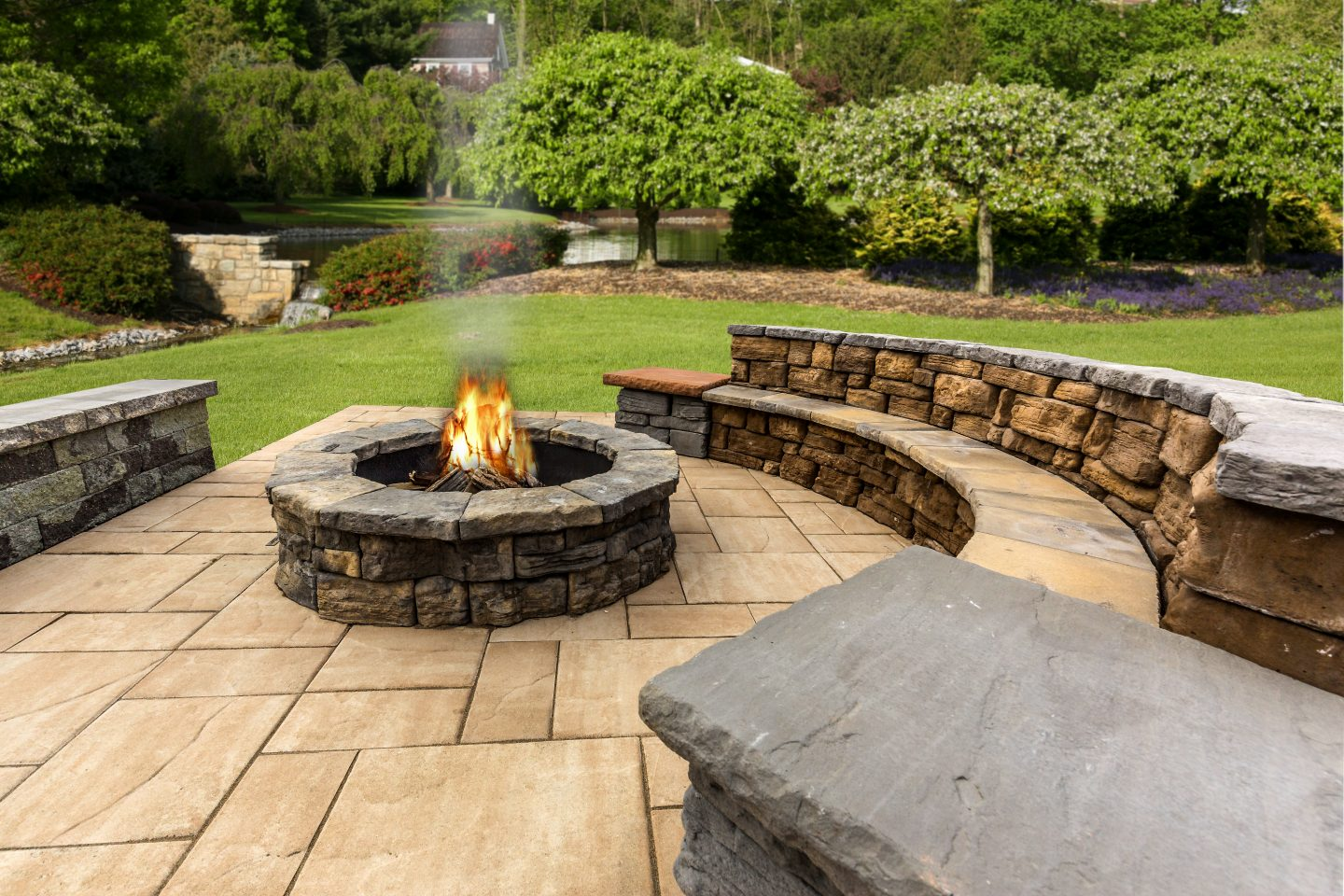 Custom Fire Pit Built into Patio with Bench Seating - Custom Fire Pits Best In Backyards