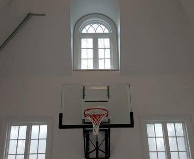 Indoor wall mounted basketball hoop install