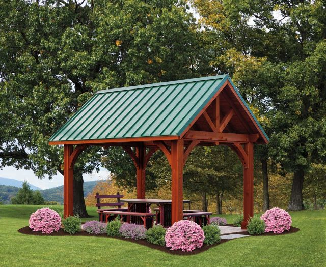 10'x14'-Apline-Cedar-Wood-Pavilion-Canyon-Brown-Stain-Classic-Green-Standing-Seam-Metal-Roof