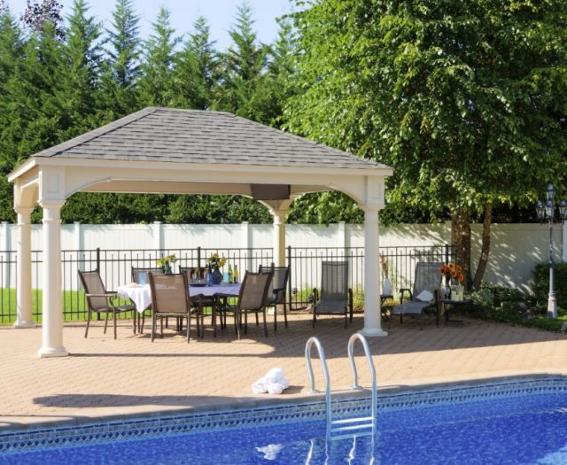12'x16' Traditional Ivory Vinyl Pavilion - Asphalt Shingles - 10in Round Column Post (2)